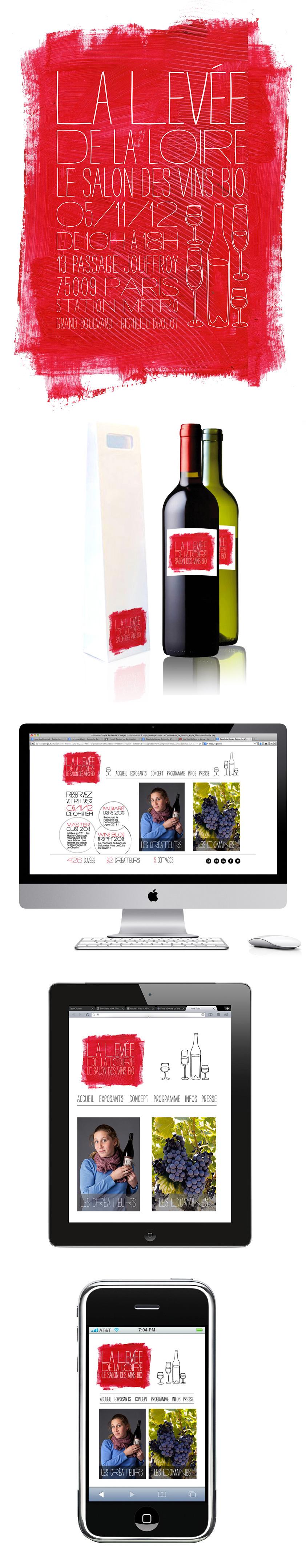 Création de la charte graphique de La Levée de La Loire : affiche, étiquettes de vin, site internet, Ipad, Iphone